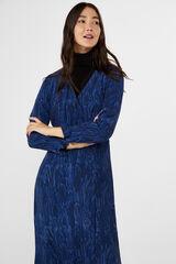 Cortefiel Vestido estampado moiré Azul