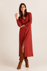 Cortefiel Vestido largo canalé Rojo