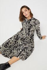 Cortefiel Vestido estampado manga comprida Marfim