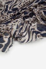 Cortefiel Fular fino mancha animal y logo Azul