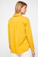 Cortefiel Camisa cuello polo Amarillo