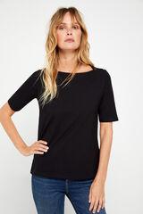 Cortefiel T-shirt básica decote barco Preto