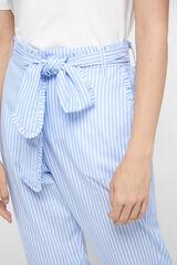 Cortefiel Pantalón de popelín de rayas Azul