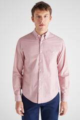 Cortefiel Camisa lisa fil a fil Rojo