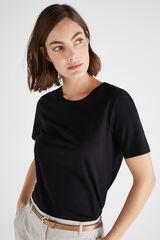 Cortefiel Camiseta algodón orgánico cuello caja Negro