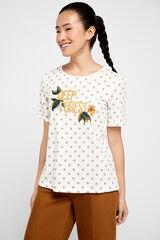 Cortefiel Camiseta orgánica estampada Beige
