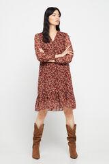 Cortefiel Vestido curto estampado manga comprida Marrom
