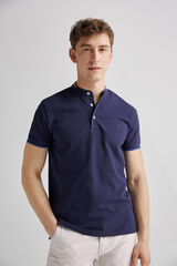 Fifty Outlet Polo cuello mao Azul marino
