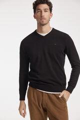 Fifty Outlet Jersey cuello pico con logo a contraste Negro