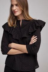 Fifty Outlet Blusa plumeti folhos preto