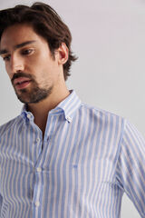 Fifty Outlet Camisa Lino Rayas Azul
