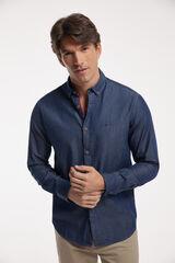 Fifty Outlet Camisa Denim Lisa con bolsillo PDH Azul marino