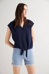 Fifty Outlet Blusa crepe Azul marino