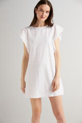 Fifty Outlet Vestido bordado suizo Blanco