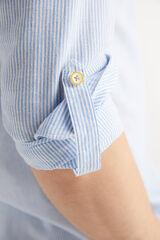 Fifty Outlet Camisa Lino Rayas Azul marino