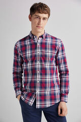 Fifty Outlet Camisa twill cuadros Azul marino