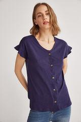 Fifty Outlet Camiseta botones Azul marino
