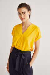 Fifty Outlet Blusa combinada amarillp claro