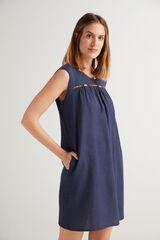 Fifty Outlet Vestido corto rústico Azul marino