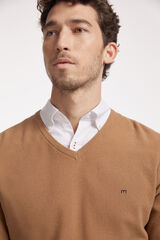 Fifty Outlet Jersey cuello pico con microestructura Camel