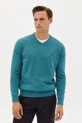 Fifty Outlet Jersey cuello pico con logo a contraste Verde