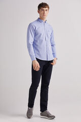 Fifty Outlet Camisa pinpoint lisa Azul