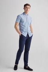 Fifty Outlet Camisa Lino Cuadros Lifeway Azul marino