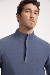 Fifty Outlet Jersey media cremallera con microestructura Azul