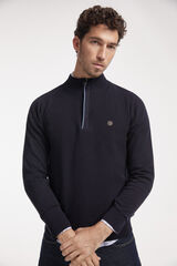 Fifty Outlet Jersey media cremallera con microestructura Azul marino