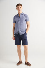 Fifty Outlet Camisa lino print Azul marino