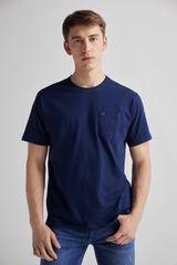 Fifty Outlet Camiseta con bolsillo en pecho y bordado Lifeway Azul