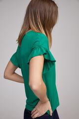 Fifty Outlet Camiseta volante fruncido Verde