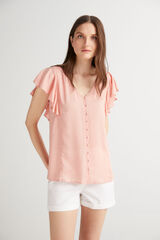 Fifty Outlet Blusa escote pico Fucsia