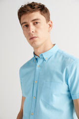 Fifty Outlet Camisa lino lisa Azul marino