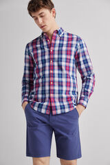 Fifty Outlet Camisa lino cuadros Azul