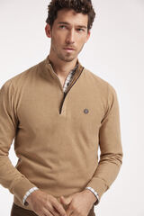 Fifty Outlet Jersey media cremallera con microestructura Beige