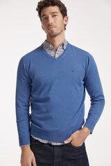 Fifty Outlet Jersey cuello pico con logo a contraste Azul