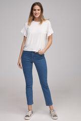 Fifty Outlet Camiseta volante fruncido Blanco