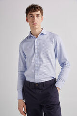 Fifty Outlet Camisa vestir microestructura Azul