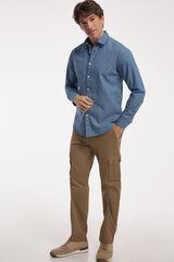 Fifty Outlet Camisa Denim Estampada Azul