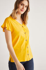 Fifty Outlet T-shirt botões amarillp claro