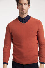 Fifty Outlet Jersey cuello pico con microestructura Naranja