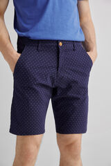 Fifty Outlet Bermuda algodón estampada Azul marino