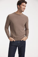 Fifty Outlet Jersey cuello caja con microestructura Beige