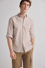 Fifty Outlet Camisa Lino Rayas Marrón