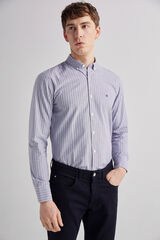 Fifty Outlet Camisa pinpoint rayas Marron