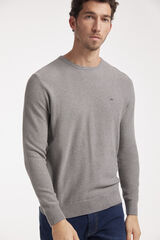 Fifty Outlet Jersey cuello caja con microestructura Gris