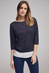 Fifty Outlet T-shirt combinada marinho