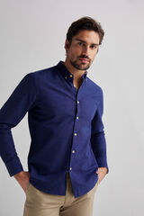 Fifty Outlet Camisa lino lisa Azul marino