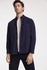 Fifty Outlet Camisa Micropana Lisa Azul